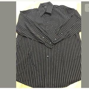 Alfani Black And Brown Stripes  Large Men's Shirt